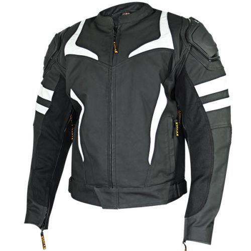 Vulcan VTZ-940 Mens Black/White Armored Motorcycle Jacket